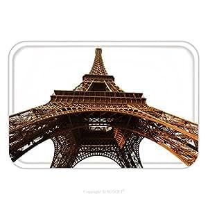 Franela de microfibra antideslizante suela de goma suave absorbente Felpudo alfombra alfombra alfombra aislado de la torre Eiffel en el fondo blanco París Francia 78666403para interior/exterior/cuarto de baño/cocina/Estaciones de trabajo, multicolor, 17.7x29.5 Inch