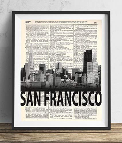 San Francisco Skyline With Bold Name Dictionary Art Print 8x10