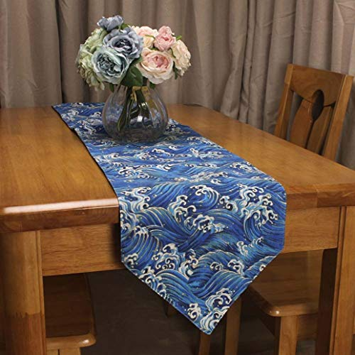 (US-ROGEWIN Table Runners Vintage Simple Sea Wave Washable Cotton Linen Double Layer Pointed Cabinets Household)