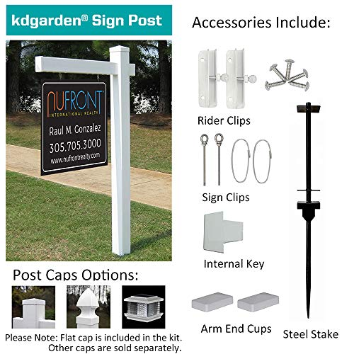 kdgarden Vinyl PVC Real Estate Sign Post 6ft. Tall (4''x 4''x 72'') Realtor Yard Sign Post for Open House and Home for Sale, 36'' Arm Holds Up to 24'' Sign, White with Flat Cap(No Sign) by kdgarden (Image #7)
