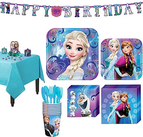 Party City Frozen Tableware Party Supplies for 8 Guests, Include Plates, Napkins, Utensils, a Banner, and Decorations
