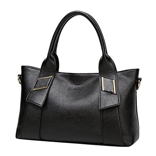 YiLianDa Umhängetasche Damen Henkeltasche Tote PU Leder Schultertasche Damen Tasche Crossbody Handtasche für Frauen Schwarz STERKi