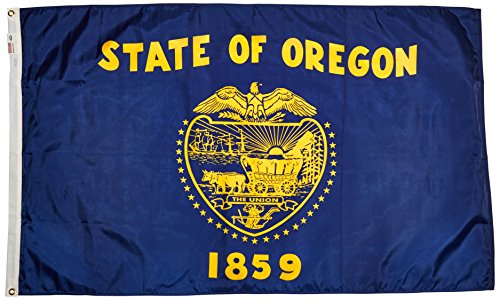 (Valley Forge Flag Made in America 3' x 5' Nylon Oregon State Flag)