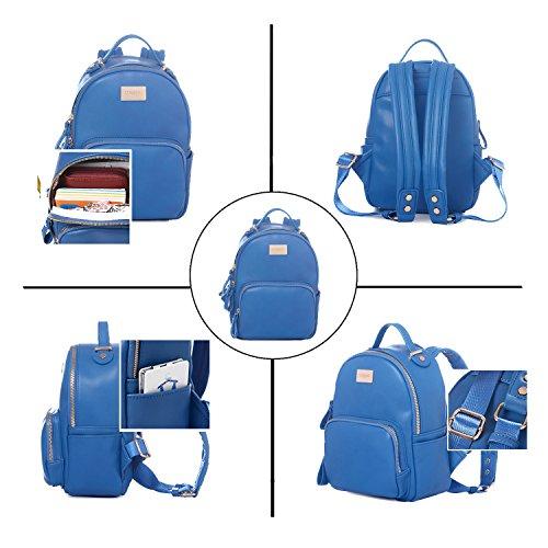 Travel Blue Purse Faux Shoulder Small Backpack DAVIDJONES Women's Leather Bag Mini 6SHnW
