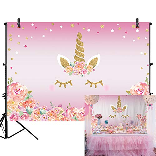 Allenjoy 7x5ft Pink Unicorn Theme Birthday Party Decoration Photography Backdrop and Studio Props Watercolour Flower Shine Gliter Gold Dot Background Newbron Baby Shower Banner Photo Shoot -