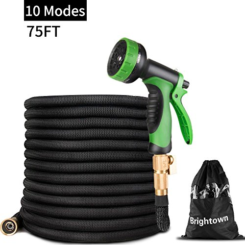 75FT Garden Hose-Heavy Duty Strongest Expandable Magic Water Hose with Double Latex Core, Solid Brass Connector 10 Pattern Spray Nozzle(Black)