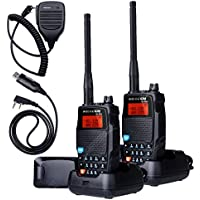 2Pcs NKTECH UV-5RX VHF UHF Dual Band 136-174/400-480MHz 5W Two Way Radio Ham Transceiver Walkie Talkie 3200mAh 7.4V Li-ion Batteries Accessories + Mic UV a and Cable Warranty