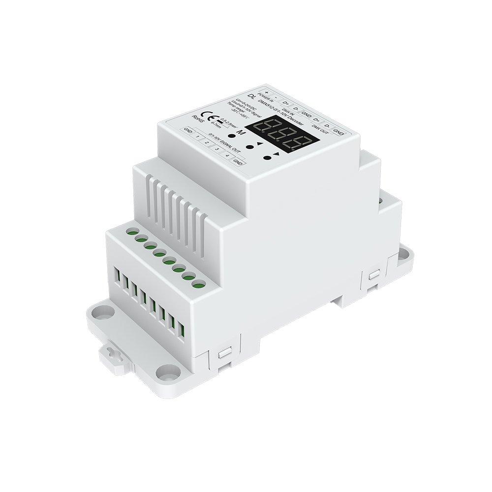 DMX512 to 4CH 0-10V Decoder 0-10V LED Dimmer DMX512 Signal to 0-10V Signal RGB/RGBW controller 4 Channel Dimmer 5-24V