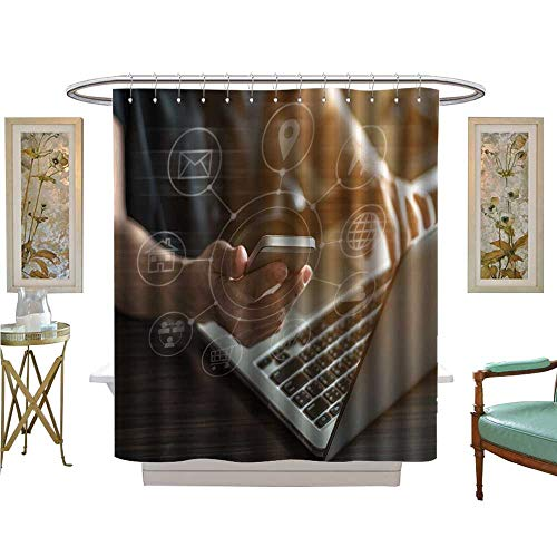 (luvoluxhome Shower Curtain Customized Internet Market and Online Bank Payment on Mobile Device Satin Fabric Bathroom Washable W72 x L96)