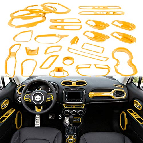 Yoursme Yellow Car Interior Accessories Decoration Cover Trim Kit 31PCS Air Conditioning Vent & Door Speaker & Water Cup Holder & Passenger Side Grab Handle Covers for Jeep Renegade 2015-2018