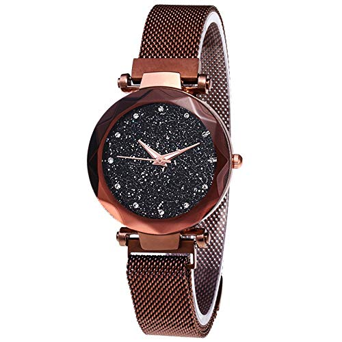 YLLuck Women Watches Starry Sky, Analog & Diamond Quartz Watch Round Dial Wrist Watches with Magnetic Mesh Band (Champagne Gold)