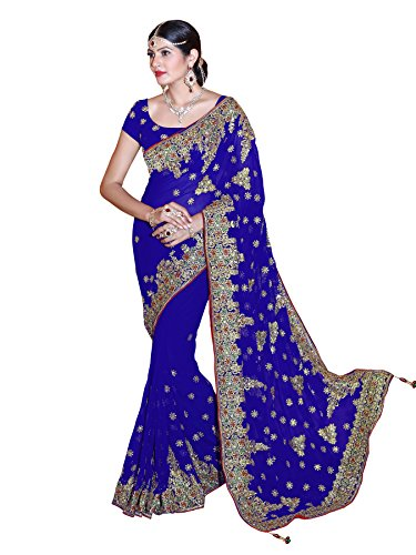 - Mirchi Fashion Women's Embroidered Bridal Wedding Saree (3440_Royal Blue)
