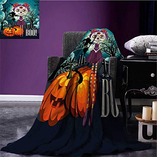 Halloween Printing Blanket Cartoon Girl with Sugar Skull Makeup Retro Seasonal Artwork Swirled Trees Boo Bed Cover Multicolor Bed or Couch 90
