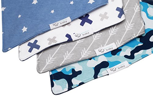 REVERSIBLE & WATERPROOF Cotton Baby Bandana Drool Bibs for Boys with Adjustable Snaps, Pack of 4, Soft Absorbent Cute Modern Premium Bib Set for Teething Drooling, Perfect for Baby Shower Gift (Blue)
