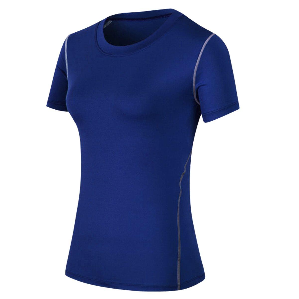 fitnestyleレディース圧縮ワークアウトアスレチックシャツQuicky Dry Tシャツfor RunningヨガTrainning Tag L/US M(Height:5.2-5.4' Weight:101-122 lbs) ネイビー B07DLB658X