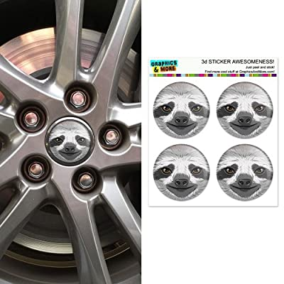 Graphics And More Sloth Face Wheel Center Cap 3D Domed Stickers Badges - Set Of 4 - Graphics And More