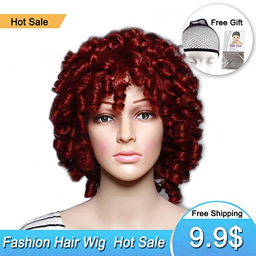 Short Curly Synthetic Hair Wigs Andromeda Afro Kinky Curly Heat Resistant Fiber Hair Wig for African American Black Women