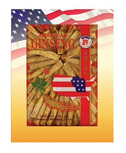 Wisconsin Ginseng Tea (SKU #0121-4, Hsu's Ginseng Cultivated American Ginseng Large Prong (4 oz = 113 gm / box), with one free single American ginseng tea bag, 121-4, 121.4)