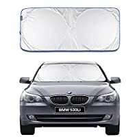 Car Windshield Sunshade EZYKOO Pop Up Windshield Shade Retractable Sun Visor Protector with Blue Silver Tone 63 x 34 inch Fit for Most Car SUV Truck