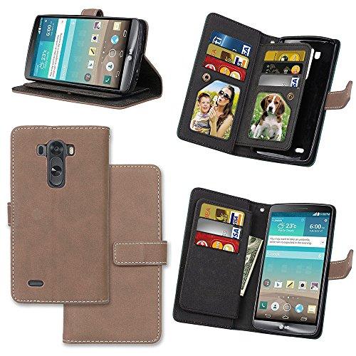 LG G3 Case, 9 Card Holder Cash Pocket Wallet Matte Leather Surface Flip Case for LG G3 (Beige))