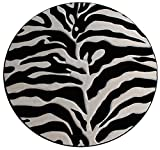 Modern Round Area Rug, Sculpted Zebra Print, Design S 245 Black Off-White (5 Feet 6 Inch X 5 Feet 6 Inch)