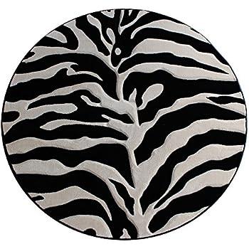 Amazon Com Modern Round Area Rug Sculpted Zebra Print