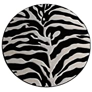 Modern Round Area Rug Sculptured Zebra Print Design #S 245 Black (7 Feet 8 Inch Diameter) Round