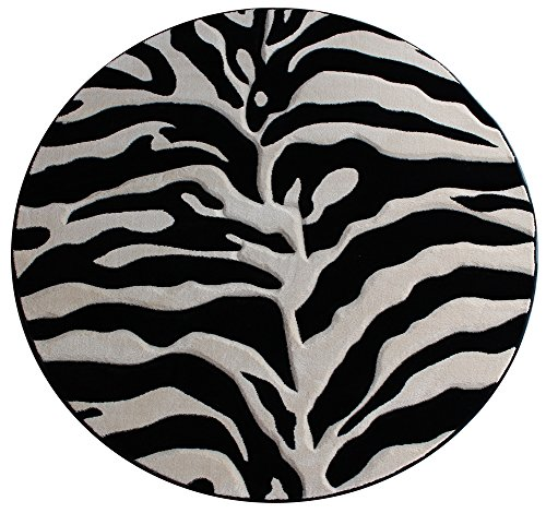 Modern Round Area Rug Sculptured Zebra Print Design #S 245 Black (7 Feet 8 Inch Diameter) (Zebra Black Area Rug)