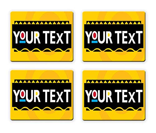 BRGiftShop Personalize Your Own Classic Sitcom Comedy Font Set of 4 Square Beverage Coasters