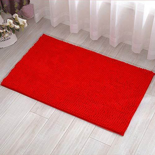 Eanpet Chenille Bath Mat Non-Slip Microfiber Floor Mat Baby Bath Mat for Kids Ultra Soft Washable Bathroom Dry Fast Water Absorbent Shag Shower Mat Area Rugs Red 16