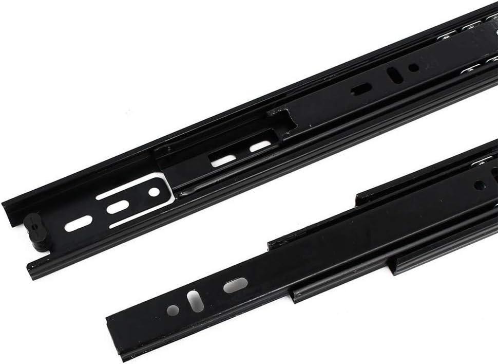 MroMax Ball Slide 400mm Max Length 35mm Wide Slide Track Rail Mounting Drawer Runners Slider for Cabinet Home Furniture Black 1Pcs