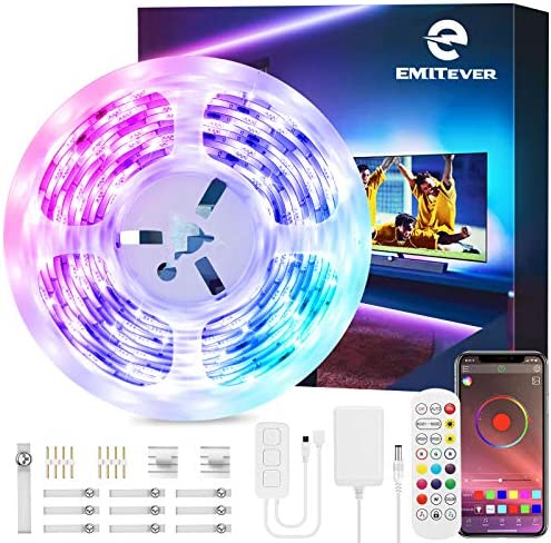 EMITEVER LED Strip Lights, 32.8ft UL RGB LED Light Strip 5050 24V Smart LED Tape Lights, Phone App Controlled Music LED Strip Lights with Remote Flexible Strip Lights for Bar Home Decoration