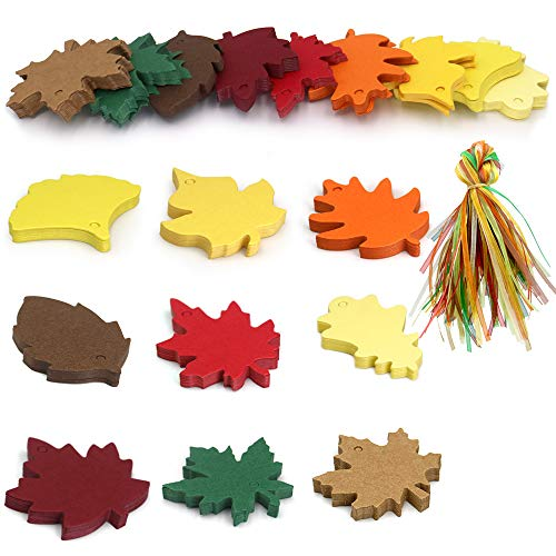 (180 PCS 9 Styles Colorful Maple Paper Leaves Gift Tags with 180PCS Organza Ribbon Perfect for Fall Wedding Party Favors Tags,Christmas Escort Cards Wishing Tree)