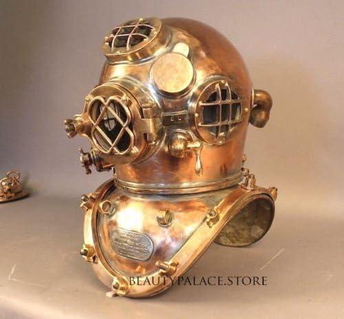 US Navy Mark V Solid Copper /& Brass Heavy Diving Divers Helmet 18 Inch Vintage