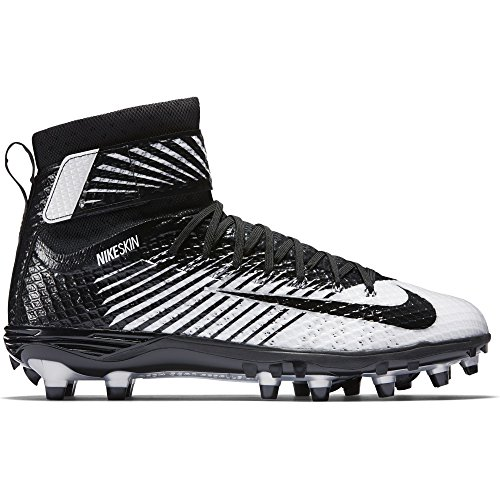 Nike Men's Lunarbeast Elite Football Cleat Black/White/Metallic Silver/Black Size 9.5 M US