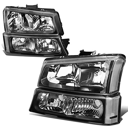 (Black Housing Clear Corner Headlight+Bumper Light for Chevy Silverado Avalanche 03-06 w/o Factory)