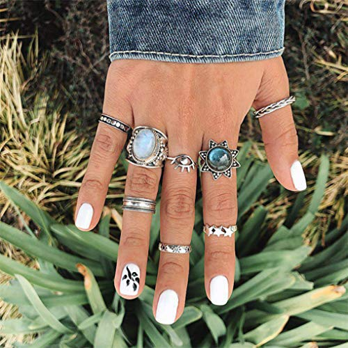Modsnde Bohemian Ring Sets for Women Vintage Silver Crystal Joint Knuckle Ring Set Stackable Rings Set Hollow Carved Flowers for Women Fine Jewelry Gifts