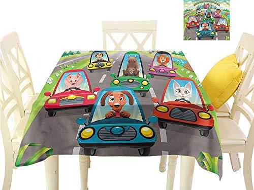 - WilliamsDecor Wrinkle Free Tablecloths Kids,Doggy Piggy Kitten and Horse Wrinkle Free Tablecloths W 60