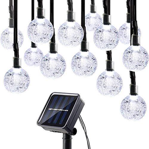 Solar String Light Crystal globe Ball Waterproof for Garden Outdoor Table Umbrella , White