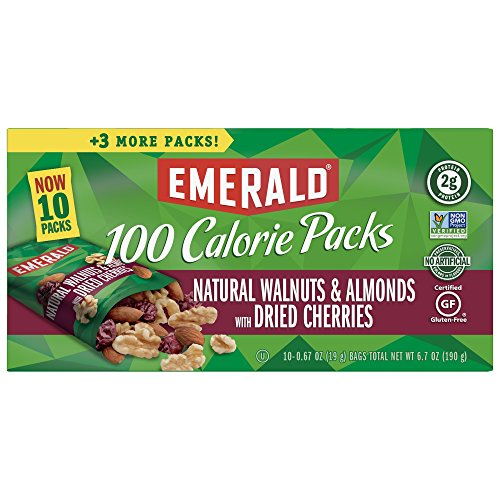 Emerald Nuts Walnuts and Almonds 100 Calorie Pack, Natural and Cherries, 10 Count (Pack of 6)
