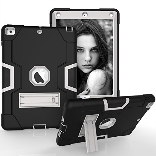 iPad Air Case, iPad 5 Case, Beimu 3in1 Combo Hybrid Heavy Duty Armor Full-body Holster Rugged Defender Protective Built-in Kickstand Case for Apple iPad 5/iPad Air Black+grey