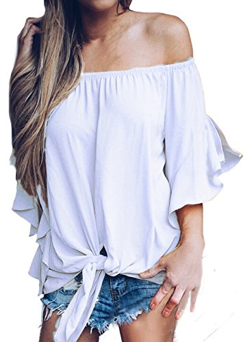 Shawhuwa Womens Off The Shoulder Tie Knot Elegant Blouse Tops Solid White XXL (White Off The Shoulder Plus Size Shirt)