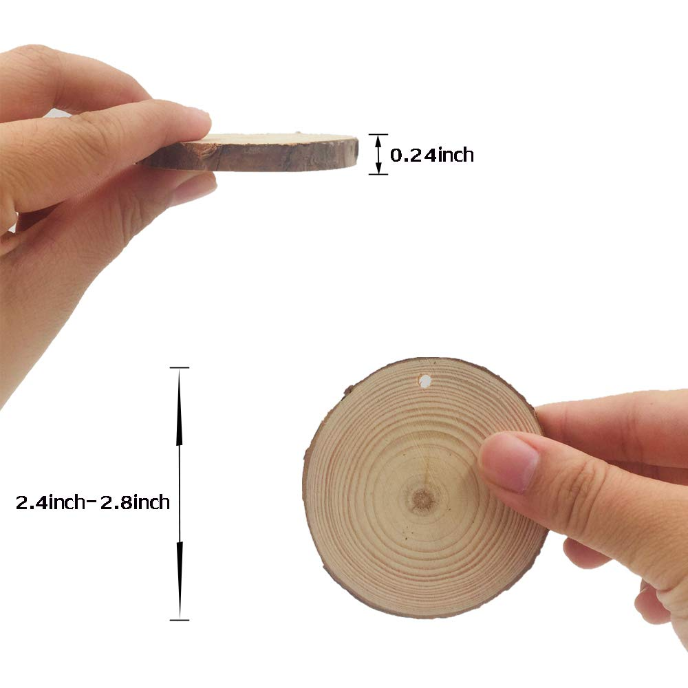 Small Natural Wood Slices 30 Pcs 2.4 2.8 with Holes for Crafts Ornaments by AIMINUO