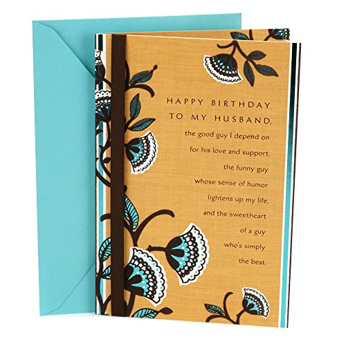 Birthday cards for husbands amazon hallmark birthday greeting card to husband brown and blue floral bookmarktalkfo Choice Image