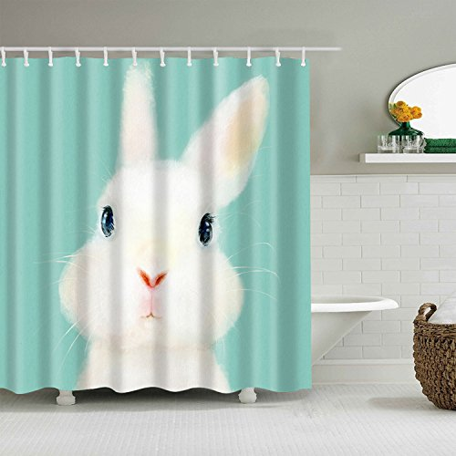 Bartori Animal & Flower Pattern Shower Curtain Cute and Beautiful Rabbit Tiffany Blue Background Waterproof Polyester Fabric Bath Curtain with 12pcs Hooks 71