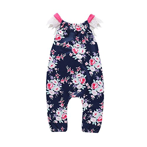 Fartido Romper Baby Girl Floral Print Lace Bcakless Sleeveless Jumpsuit Outfits