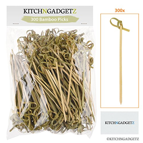 Bamboo Cocktail Picks - 300 Pack - 4.1 inch - With Looped Knot - Great for Cocktail Party or Barbeque Snacks, Club Sandwiches, etc. - Natural Bamboo - Keeps Ingredients Pinned Together - Stylish (Food Christmas Cocktail Party)