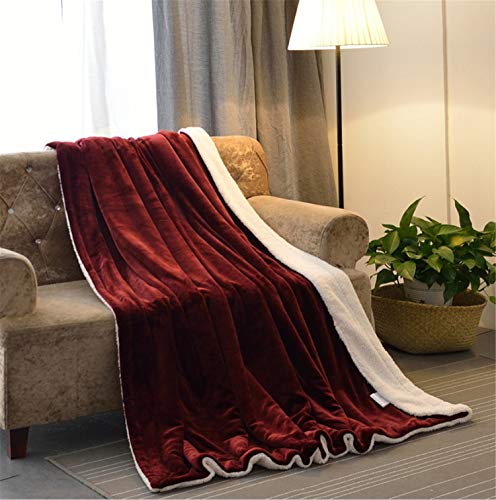Red Lamb Cashmere Blanket Travel Office Comfortable Couch 200230cm Thickening Home Bed Warm Lamb Fluff Double Fall Winter Sofa Reversible Microfiber