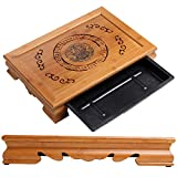 Tea Talent Reservoir Type Bamboo Tea Tray 15.7 x 11 x 2.95 Inches - Japanese / Chinese Gongfu Tea Table Serving Tray Box for Kungfu Tea Set, Yellow