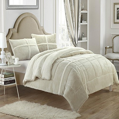 Chloe Plush Microsuede Sherpa Lined Beige King 7 Piece Comforter Bed In A Bag Set